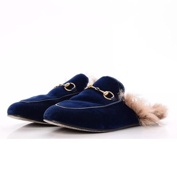 cd81cec0c21 Gucci Shoes - GUCCI PRINCETOWN VELVET COBALT BLUE FUR MULES